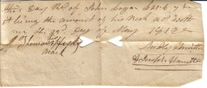 Audly Hamilton Receipt dated May 23, 1812