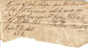 Walton Bradley note from October 15, 1811
