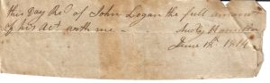 Audly Hamilton Receipt from June 18, 1814