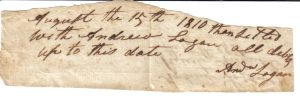 Andrew Logane Note August 15, 1810