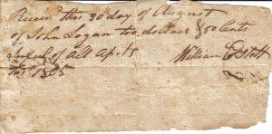 William Estoll Receipt from August 30, 1805