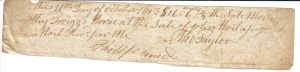Receipt for Sale of a Horse dated 11 Oct 1813.