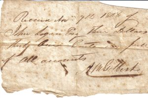 Alexander M. Gilbert receipt dated November 7, 1808