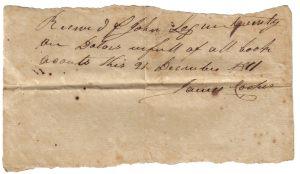 James Cooper Receipt December 21, 1811