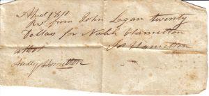 April 1811 Joseph Hamilton Note