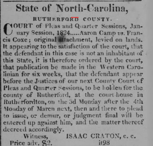 Feb 17, 1824 clipping from the Western Carolinian. Accessed from the NC Newspaper digitization project.