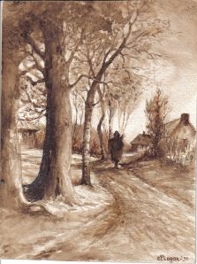 Sepia tone watercolor by Charles Patterson Logan