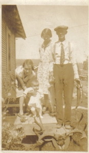 Uncle Gus, Nonnie, Thelma, and Baby Darlene in Oregon