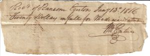 Dr. John McEntire receipt from 1816.