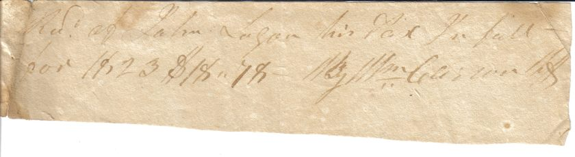 John Logan 1823 Tax Receipt