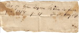 John Logan Tax Receipt for 1818