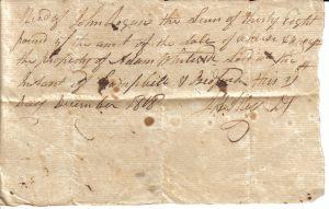 John Alley Receipt December 21, 1818