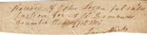 James Hicks Receipt December 21, 1816