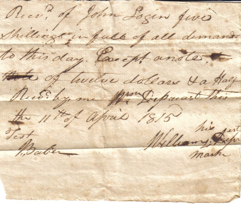 William Depriest Receipt dated April 11, 1815