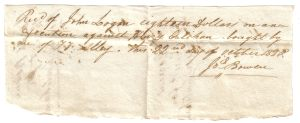 Joseph Bowen receipt for execution against Henry Calihan October 22, 1820