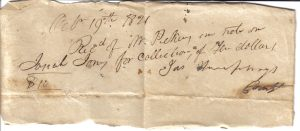 James Humphrey's receipt October 19, 1821