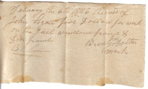 Bradley Dalton Receipt for work on the Jail February 6, 1826