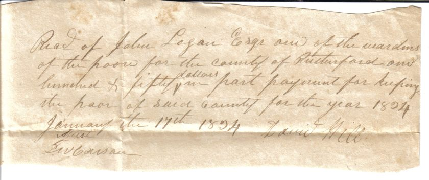 David Hill receipt dated January 17, 1824