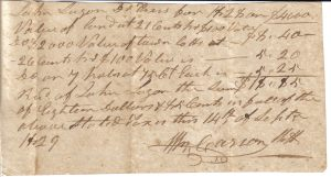 B.H. Carson receipt to J. Logan September 14, 1829